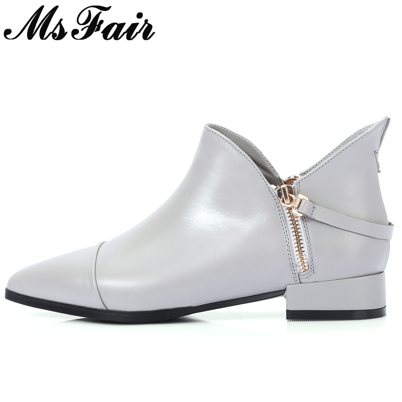 MsFair Pointed Toe Square heel Women's Boots Zipper Buckle Ladies Ankle Boot Women Winter Cow Leather Short Plush Low Heel Boots double barrel toddler boys s andy cowboy boot square toe