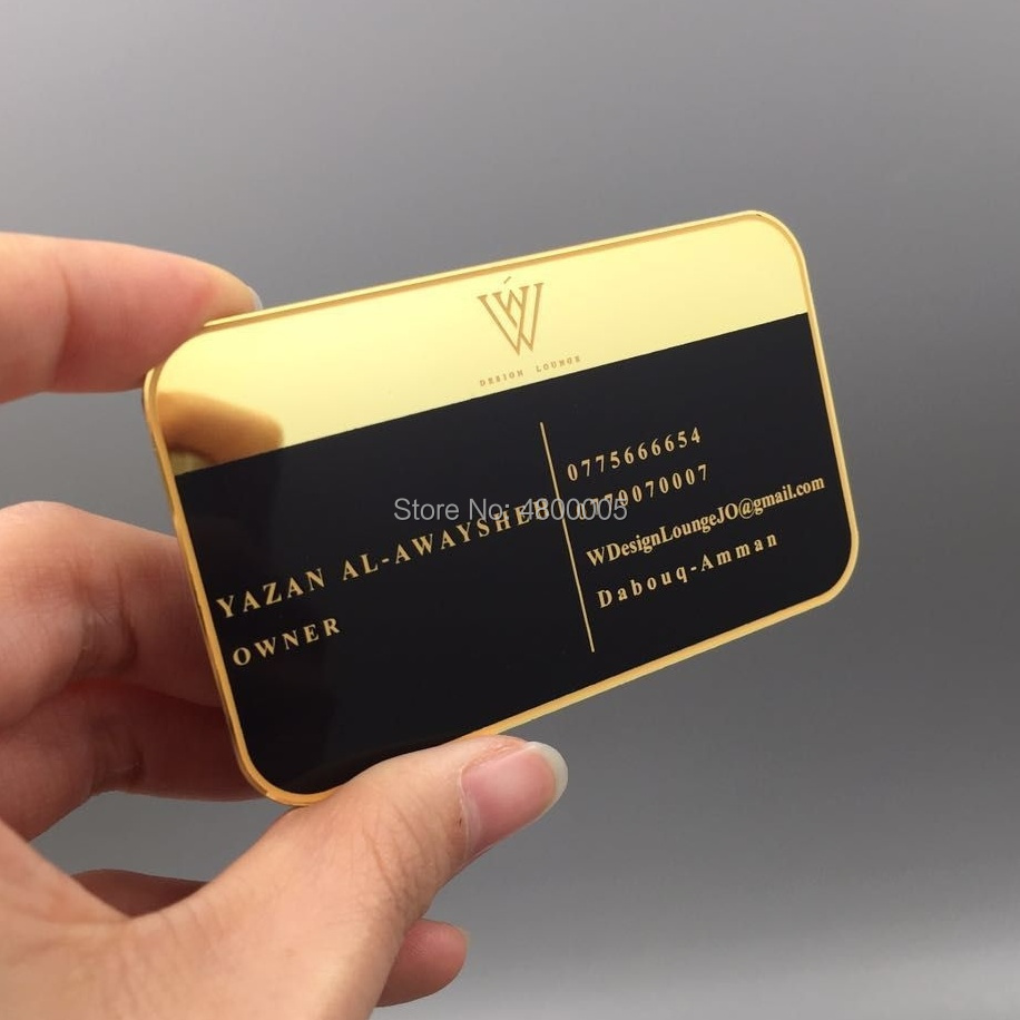 Wholesale High Quality Personalized Gold Mirror Metal Business Card