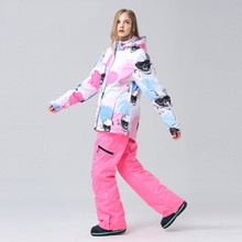 2019 New Ski Suit Women Snowboarding Sets Snowboard Winter Sportswear Snow Clothing Skiing Suit Windproof Waterproof Warm Suits 2018 new lover men and women windproof waterproof thermal male snow pants sets skiing and snowboarding ski suit men jackets