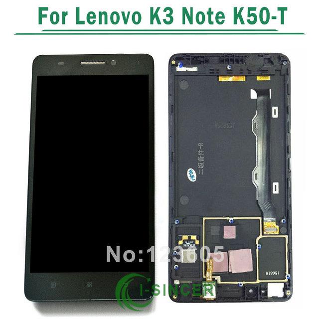 Para lenovo k3 note k50-t5 pantalla lcd con digitalizador de la pantalla táctil con el conjunto del bastidor por el envío libre