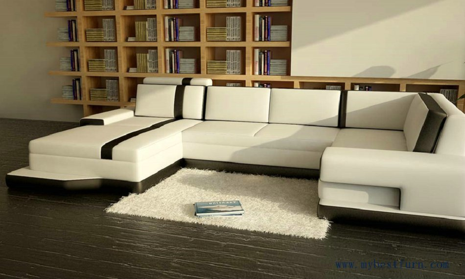 Free Shipping Modern Sofa, Balck and white leather, customized color Italian leather sofa set  S8640