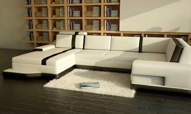 Free Shipping Modern Sofa, Balck And White Leather, Customized Color Italian  Leather Sofa Set