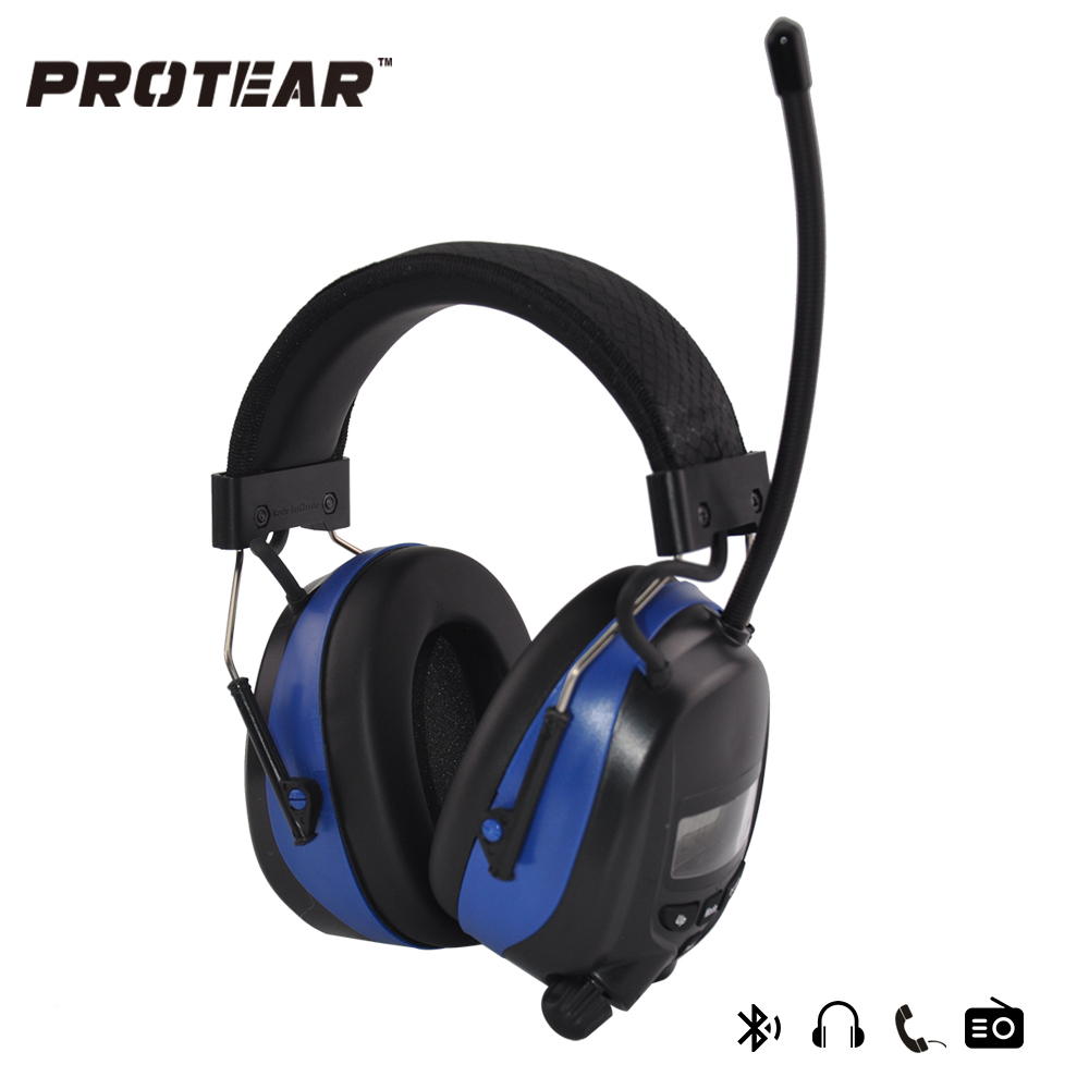 Protear NRR 25dB Hearing Protector AM FM Radio Earmuffs Electronic Ear Protection Bluetooth Headphone With lithium