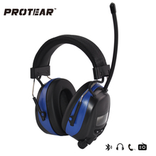 Protear NRR 25dB Hearing Protector AM/FM Radio Earmuffs Electronic Ear Protection Bluetooth Headphone With lithium battery