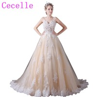 Sheer Top Beaded Lace Ball Gown Tulle Champagne Wedding Dresses With Straps Colorful Non White Bridal Gowns Custom Made Real