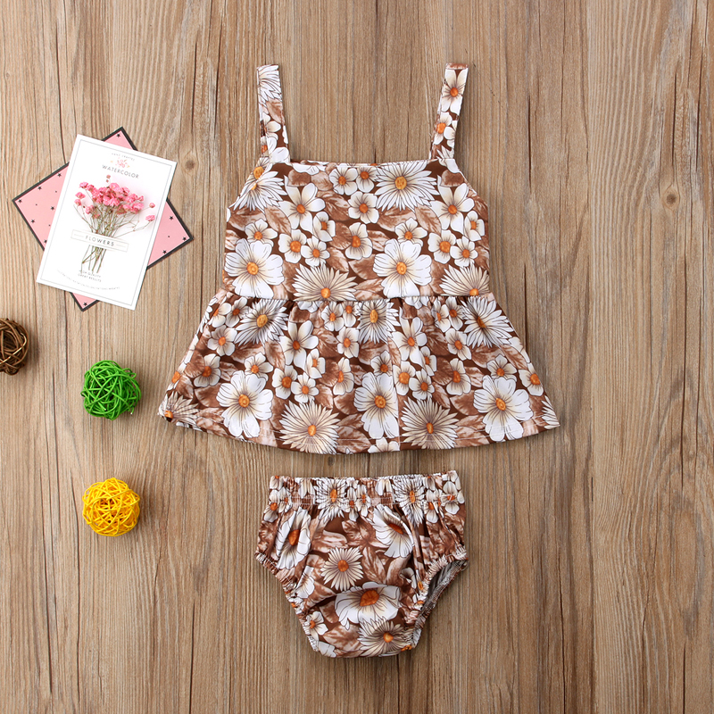 New Fashion Lovely Newborn Baby Girls Clothes Flowers Sleeveless Tops Shorts Briefs Outfits Clothes Summer