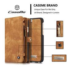Caseme брендовые Роскошные модные высококлассные для IPhone X 6 6 S 7 8 плюс натуральная кожа съемный на молнии чехол Магнитный кошелек крышка 008