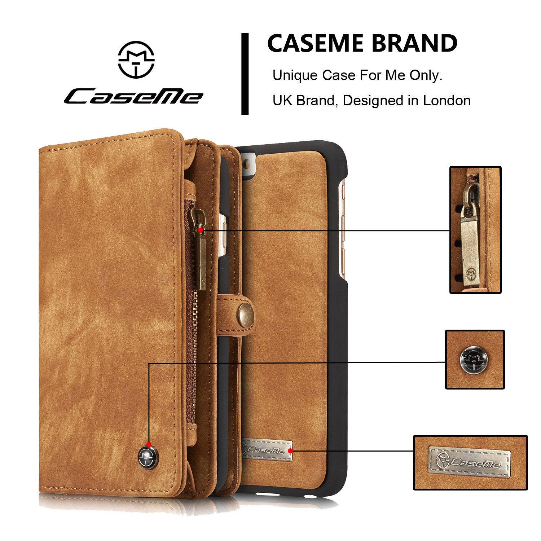 imágenes para CaseMe Marca de Moda de Lujo de Lujo para el iphone 6 6 s 7 7 Plus Cuero Genuino Cremallera Desmontable Caja de la Carpeta Magnética Cubierta 008