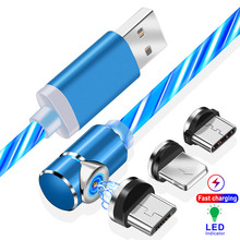 цена на Magnetic USB Data Cable for iPhone Luminous Micro USB Type C Date Sync USB-C Phone Charge Cable for Samsung Galaxy Xiaomi Huawei