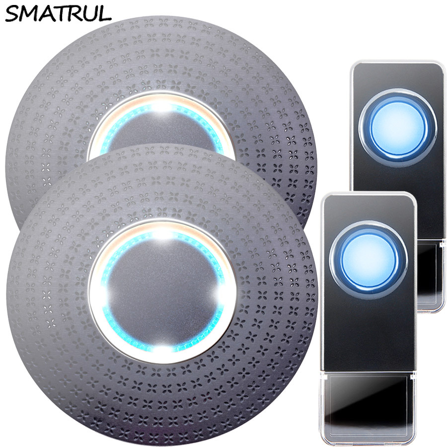 SMATRUL New Waterproof Wireless Doorbell EU Plug 300M Remote smart Door Bell Chime ring  2 button  2 receiver no battery Deaf Gorgeous lighting black