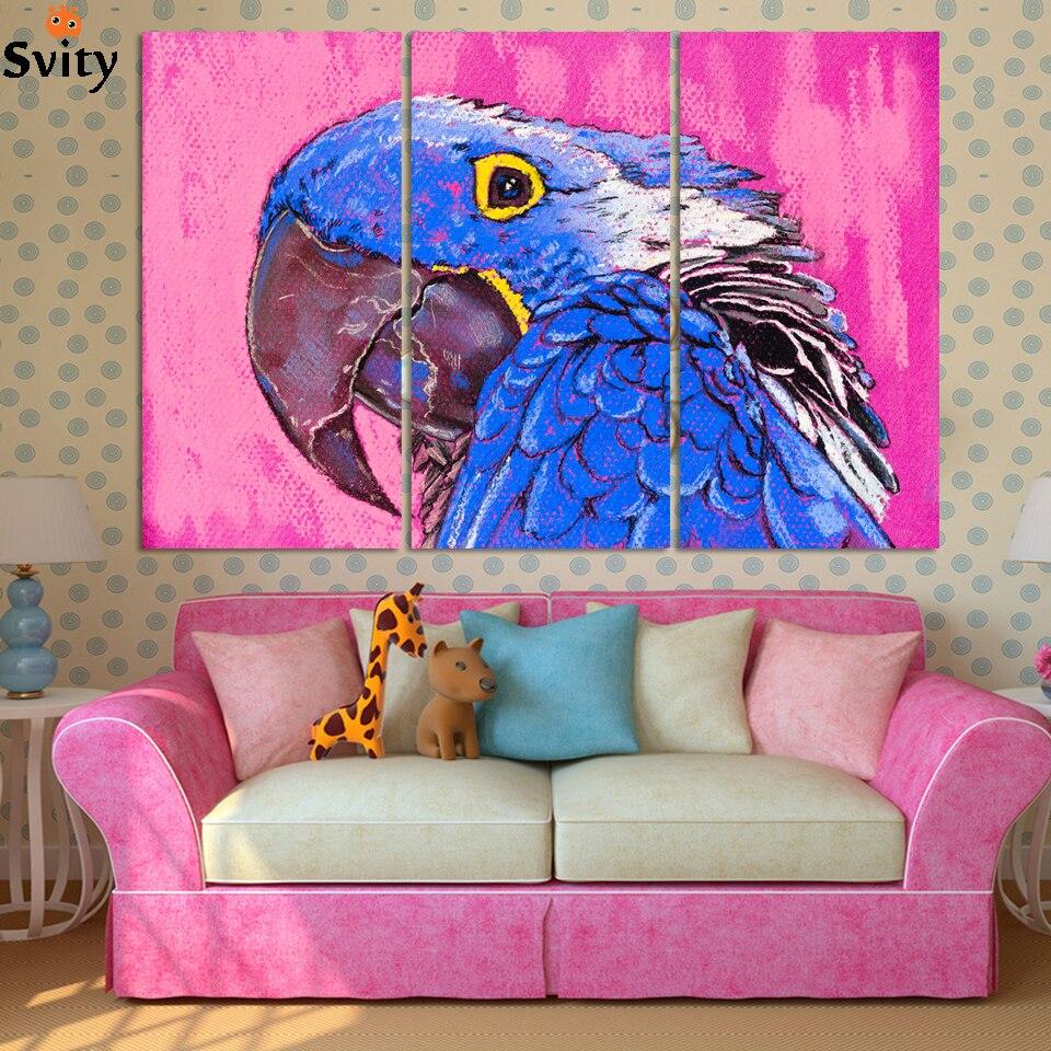3 stks/set Mooie Vogel Canvas Schilderij Kunst Poster, muur Pictures Voor kind Kamer Decoratie Op Canvas, Geen Frame
