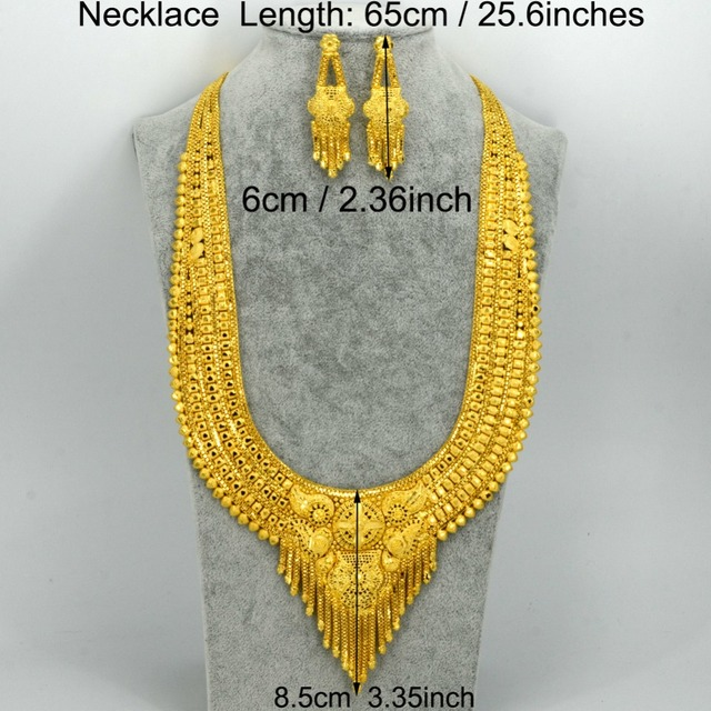 Anniyo (Two Model) 2017 Arab Dubai Party Necklace/Earrings set Wedding Jewelry Gold Color & Copper African Gifts  #006923