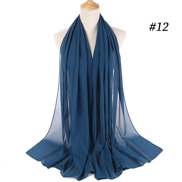 Women plain bubble chiffon scarf h