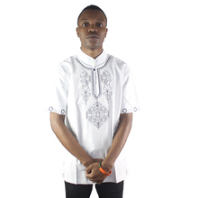 Africa White Men`s Summer Lotus Embroidery Ethnic Tops Side Slit Short-sleeved Tunic Shirts for Male Wearing