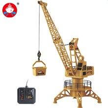 Alambre de control rc grúa torre rc camión vehículo de construcción de elevación tenedor regalos de cumpleaños modelo toys playset 360 grados gira 6820l