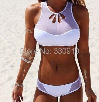 2018 Popular Petal Shape High Neck White Mesh bikni Sports Tank Top Bikini Set Biquini Womens Brazilian Swimwear Swimsuit