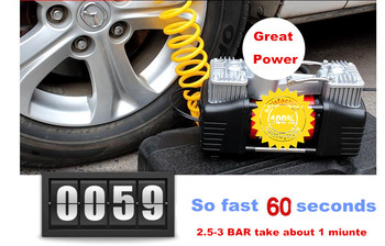 Low Noise twin Cylinder Car tire compressor auto Tire Inflatable Pump inflator for Car Emergency + Lamp + carry handle+copper mo