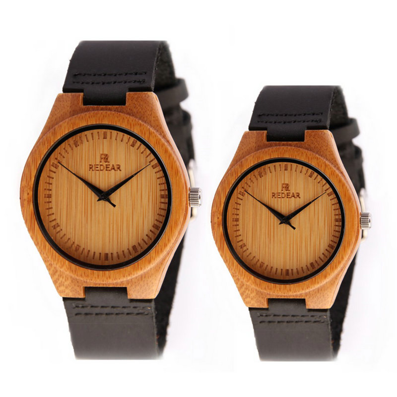 2017 new simple fashion luxury brand men and women couple watches wooden leather strap Japanese movement creative quartz watch