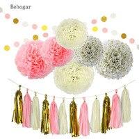 Behogar 20 Stücke Papier Dekorationen Pom Poms Blume Form Bälle Quasten String Zubehör für Geburtstag Bachelorette Party Hochzeit