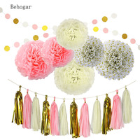 20Pcs Paper Decorations Set Pom Poms Flower Shape Paper Balls Tassels String Accessories For Birthday Bachelorette