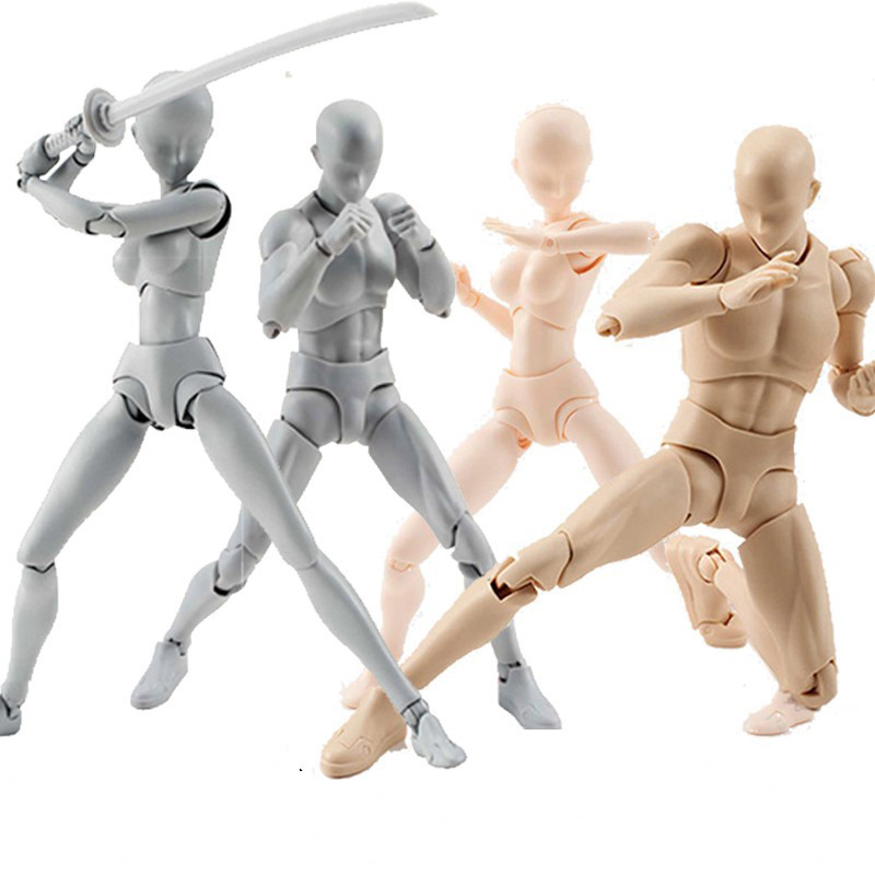 SHFiguarts Multi-joint Bewegliche KÖRPER KUN/KÖRPER CHAN körper-chan körper-kun Grau Farbe Schwarz PVC action Figure Sammeln Modell Spielzeug