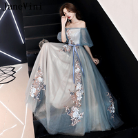 JaneVini Elegant Embroidery A Line Long Prom Dresses 2019 Off the Shoulder Half Sleeves Appliques Tulle Floor Length Prom Dress