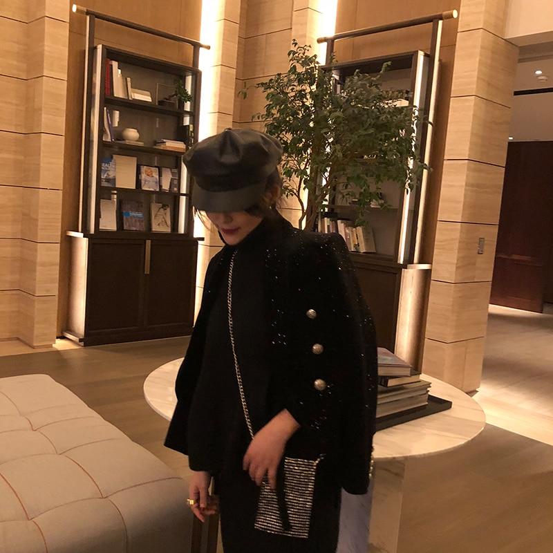 Blazer Longues V405 Manches Mince Boucle Station Nouveau Manteaux Black Argent 2019 À Costume Vestes Étoiles Automne Printemps Velours En Européenne Courts 8wzqwH6A