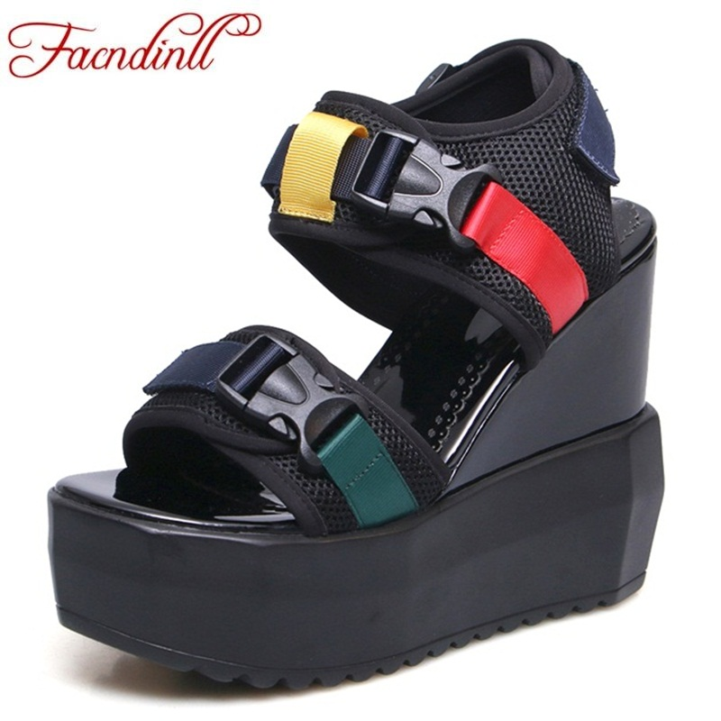 FACNDINLL casual wedges super high heels ladies sandals 2018 new patchwork platform sandals summer casual date dress woman facndinll new women summer sandals 2018 ladies summer wedges high heel fashion casual leather sandals platform date party shoes