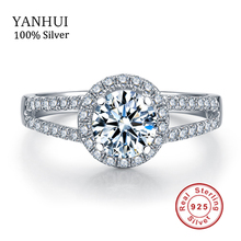 YANHUI 100% 925 Silver Sterling Engagement Ring Sona CZ Diamant Silver Wedding Rings For Women Ring Size 4 5 6 7 8 9 10 YR002