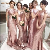 Long Bridesmaid Dresses Party Mermaid Sequined For Women Wedding Party Dress Gowns Wear Pleats Women Party Dress Gowns
