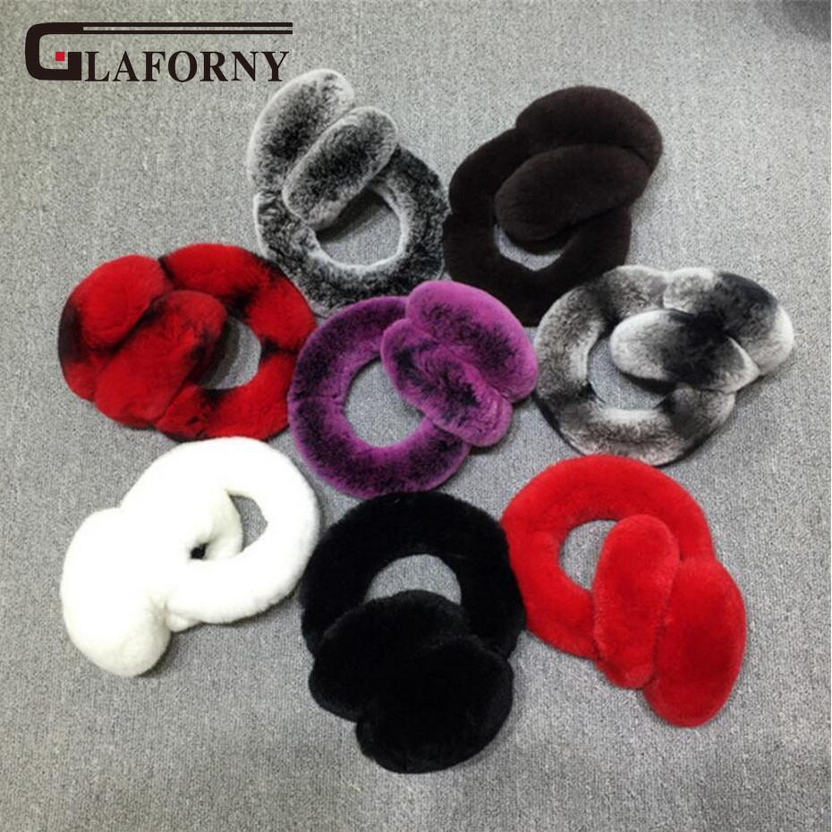Glaforny 2018 New High Quality Unisex Real Rex Rabbit Fur Earmuffs Womens Real Fur Ear Warmer Winter Super Warm Earmuffs