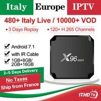 Italy IPTV Box X96mini Smart TV Box X96 mini Android 7.1 With Italia IPTV Subscription France Arabic Spain Portugal Africa IP TV