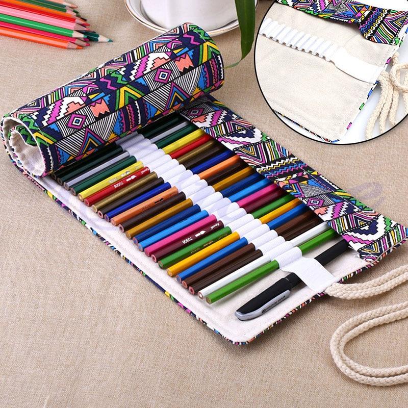 New 36/48/72 Holes Canvas Wrap Roll Up Pencil Pen Bag Holder Case Storage Pouch