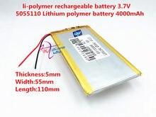 3,7 V lithium-polymer-batterie 4000 mah große-kapazität PDA tablet PC MID 5055110
