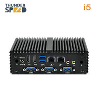 ThunderSpeed Intel Core i5 мини ПК Windows 7 безвентиляторный 4 последовательный порт Dual LAN 2 * HDMI 4 * USB3.0 NUC i3 Мини компьютер Win10