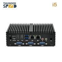 ThunderSpeed Intel Core i5 Mini PC Windows 7 Fanless 4 Serial Port Dual LAN 2*HDMI 4*USB3.0 NUC i3 Mini Computer Win10