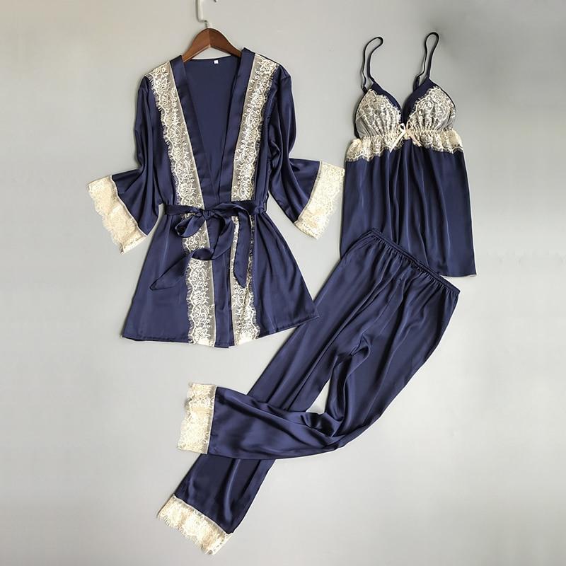 Autumn Sexy satins pajamas sets women Korea Ice silk Fashion women robes 3-piece suits Spaghetti straps ladies sleep lounge