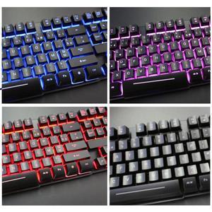 Image 3 - Rii RK100 3 цвета светодиодный USB Проводная французская (Azerty) Игровая клавиатура Механическая на ощупь (красный, синий, фиолетовый)