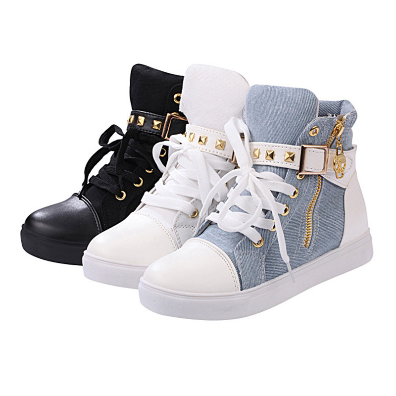 2020 Spring Sneakers Women Canvas Shoes Ladies High top Sneakers Womens Flats Black Blue Leopard Woman Casual Shoes YX667 3
