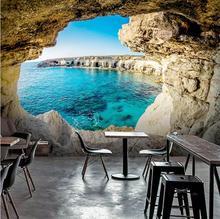 3D Wallpaper Cave Seascape Mural Mediterranean