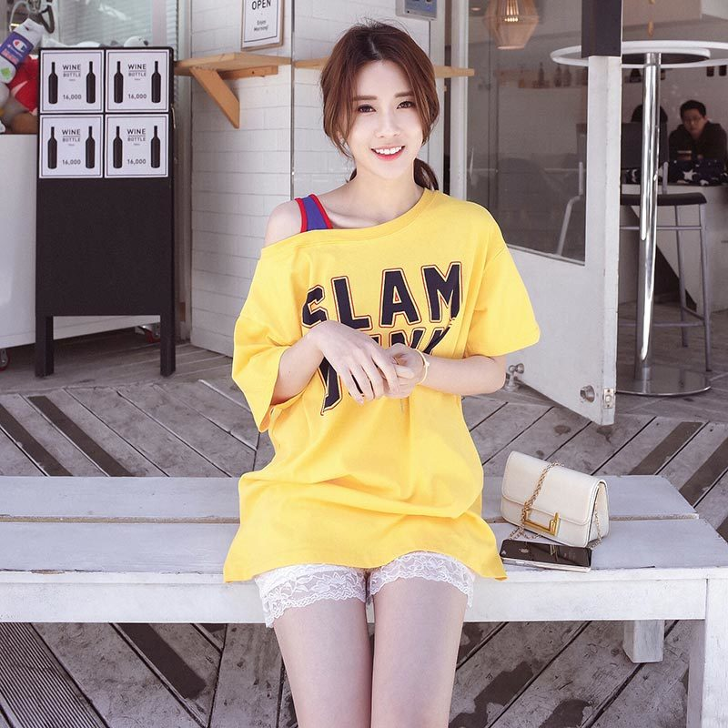 0316 Streetwear Summer T shirt Cotton Hollow Out Tshirt Female Letter Printed O Neck Black off the shoulder Tees Large Size in T Shirts from Women 39 s Clothing