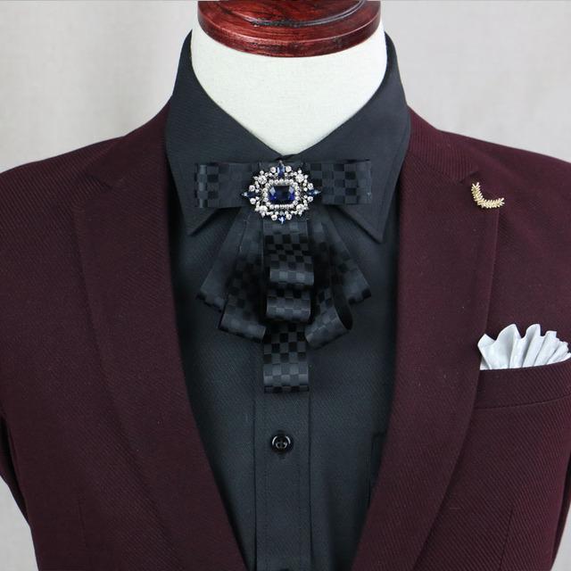 Nuevo Envío Libre de moda casual masculina de Los Hombres de Importación De diamantes lazo de la flor accesorios del vestido de boda del novio de Los Padrinos de boda espectáculo a la venta