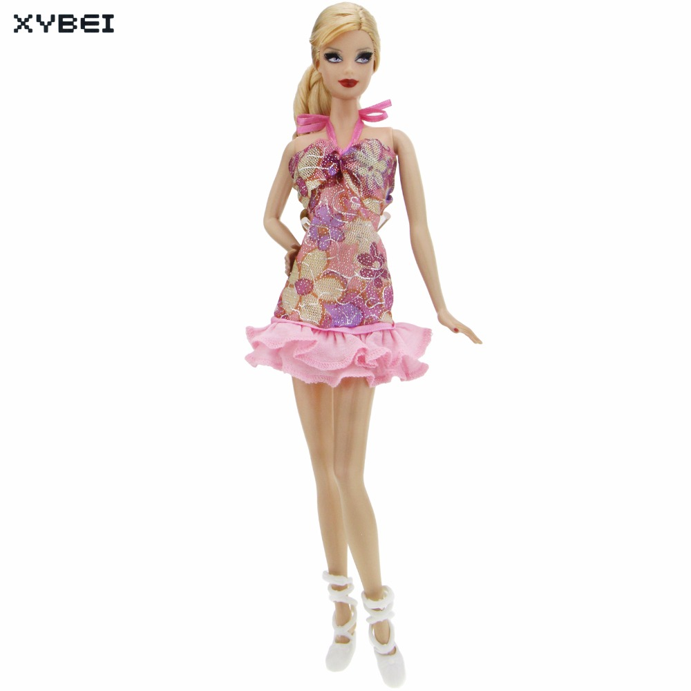 2 Pcs/lot = 1x Fashion Pink Backless Halter Dress Wedding Party Gown + 1x White Ballet Shoes Clothes For Barbie Doll Accessories 26 item pcs 10 pcs beautiful party barbie clothes fashion dress 6 plastic necklace 10 pair shoes for barbie doll accessories