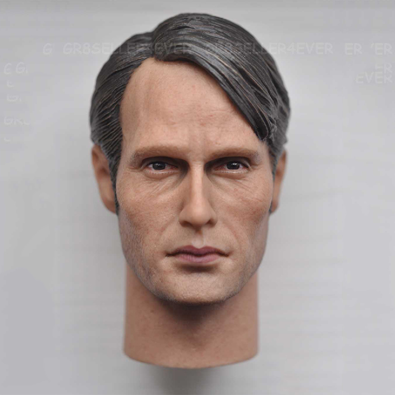 1/6 Scale Mads Mikkelsen Male Head Sculpt Models For 12 Inches Mens Figures Bodies