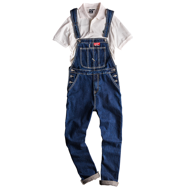 Sokotoo Men's Big Pocket Cargo Blue Denim Bib Overalls Casual Patch Design Jumpsuits Jeans Coveralls