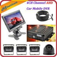 4CH канала AHD Автомобильный видеорегистратор SD видео в реальном времени Регистраторы + 4 AHD Камера DVR Наборы + 7 ЖК дисплей экран комплект для ав