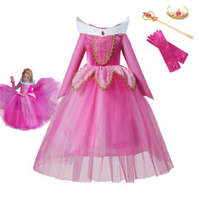 Sleeping Beauty Dress For Girls Princess Rose Cosplay Costumes Kids Forest Aurora Frocks Children Fancy Halloween Party Outfits brand girl dress sleeping beauty aurora princess for kids girls party dress halloween girls cosplay costume children clothing
