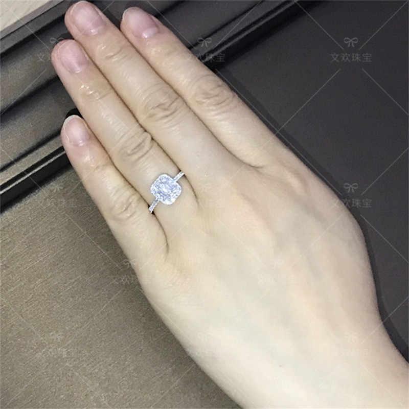 เลดี้คลาสสิก 925 เงินสเตอร์ลิงแหวนสแควร์ใส่ SONA แหวนเพชรแต่งงานเครื่องประดับสำหรับผู้หญิงขนาด 5-10