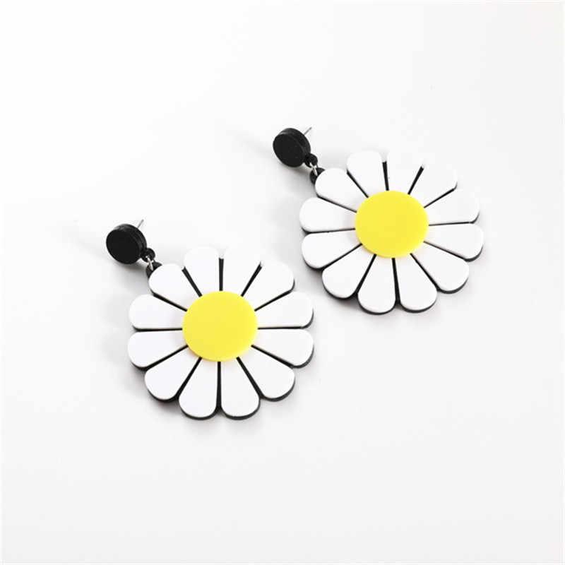 2019 moda biżuteria piękne kolczyki sztyfty z kwiatem damskie akrylowe słoneczniki przesadzone duże kolczyki wakacje nowoczesne kolczyki