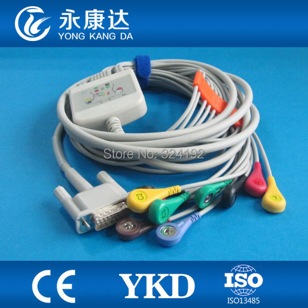 3pcs/pack Free shipping One-Piece 10 Leads 12-channel ECG EKG Cable with IEC Snap 20k resistance3pcs/pack Free shipping One-Piece 10 Leads 12-channel ECG EKG Cable with IEC Snap 20k resistance